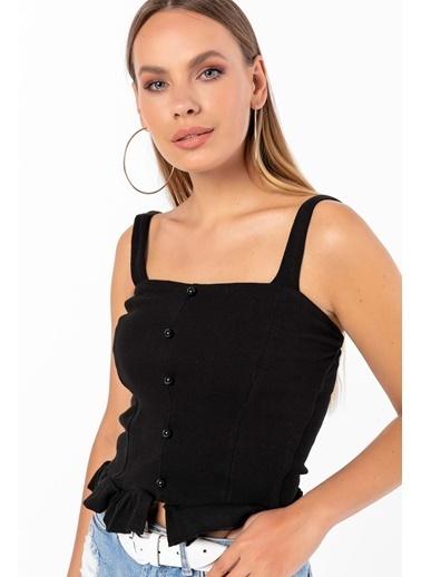Emjey Askılı Önü Düğmeli Eteği Fırfırlı Bluz Siyah